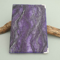 A5 notebook with removable nuno felted cover in purple
