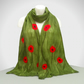 Gift boxed nuno felted scarf, green with poppies - longer length