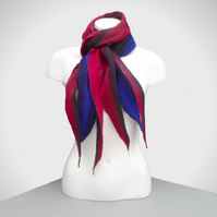 Cobweb felt scarf, merino wool in reds and blues with shaped ends, SALE