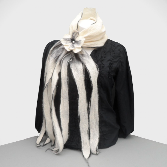 Felted scarf, white and black with flower addition, gift boxed