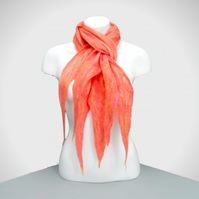 Felted merino wool scarf, all seasons in pink and orange shades in a gift box