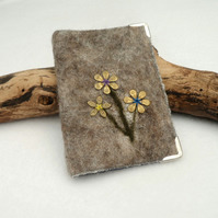 Business card, credit card wallet - felted floral design, reduced