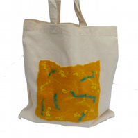 Cotton Tote Bag with yellow and turquoise hand felted panel - SALE