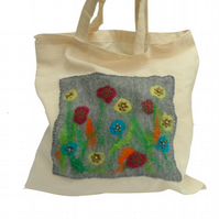 Cotton Tote Bag with hand felted and beaded floral panel