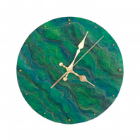 Large hand felted clock