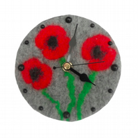 Small felted clock with poppy design