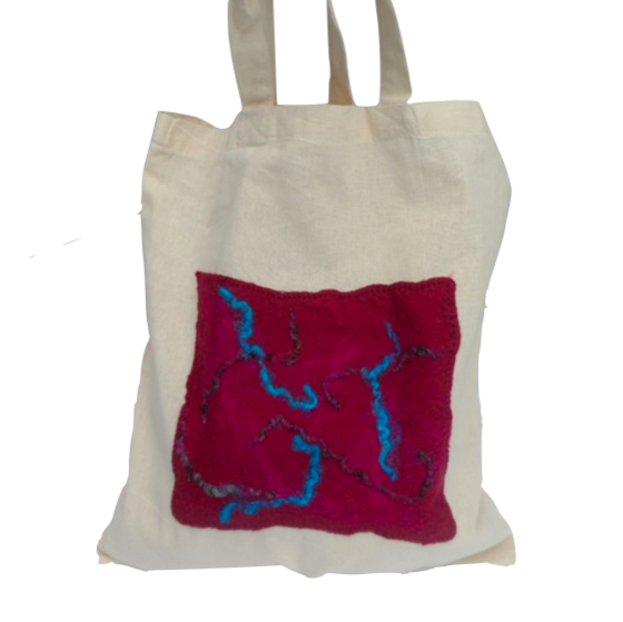 Cotton Tote Bag with red and blue hand felted panel - SALE