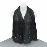 Glitzy black nuno felted dress scarf with sequin and bead decoration - SALE