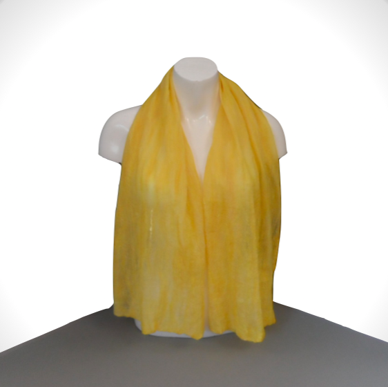 Sunshine yellow nuno felted scarf, gift boxed