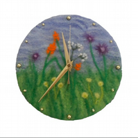 Hand felted clock 20cm with wild flower design
