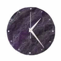 Felted clock, 20cm, in purple shades