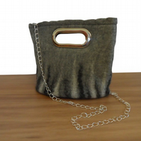 Felted handbag, grey with black and white decoration and silver handles