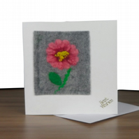 Greetings Card with felted flower panel