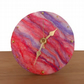 Desk clock, nuno felted in pink and purple, 12.5cm