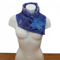 Nuno felted asymmetrical blue cowl with large flower brooch - SALE