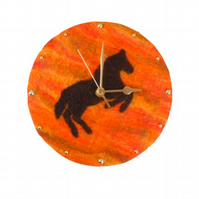 Felted wall clock, 20cm, rearing horse with sunset background