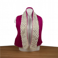 Wet felted scarf in fuchsia pink with white slatted border. SALE