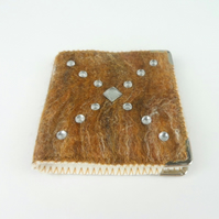 Brown felted needle book with acrylic gems, sewing kit with accessories