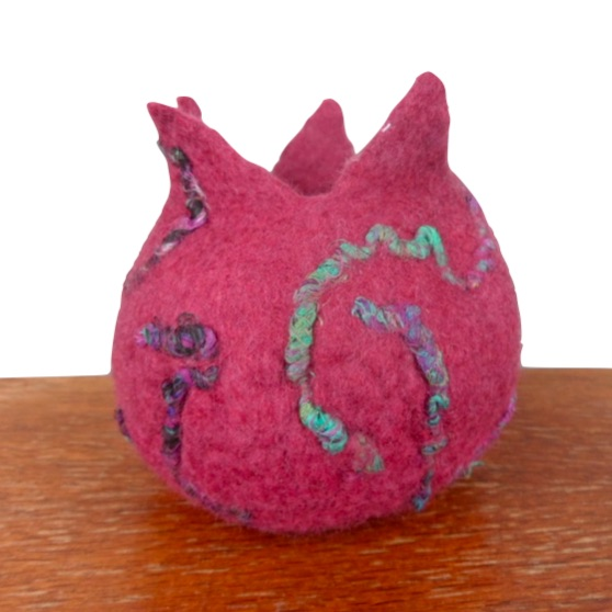 Felted vessel, pod in maroon with sari silk additions