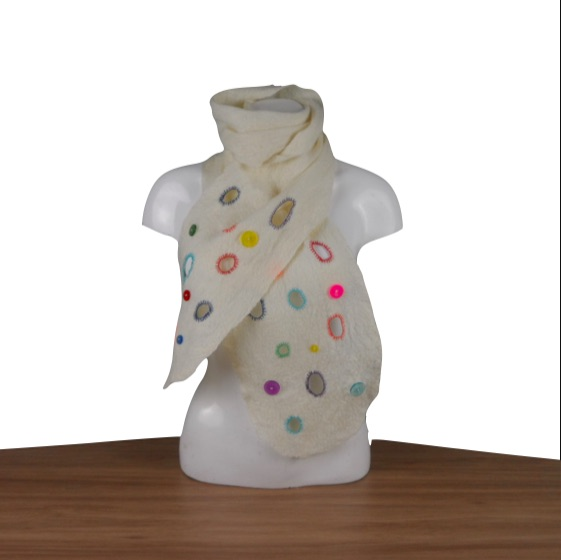 Natural White wet felted scarf with holes and buttons, gift boxed