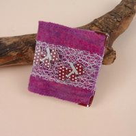 Pink and purple felted mending kit, needle book with scottie dog decoration
