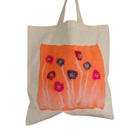 Cotton Tote Bag with hand felted orange panel and beaded flowers -SALE