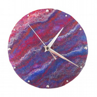 Hand felted 20cm clock in blue and red