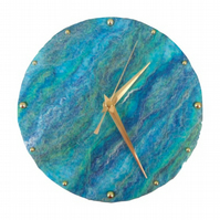 20cm felted wall clock in blue and green