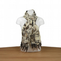 Felted scarf, white merino wool with Jacob fleece, 100% wool - SALE