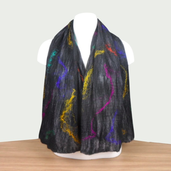Black nuno felted scarf with multicoloured silk strands, gift boxed