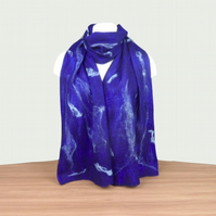 Long deep blue nuno felted scarf with silk fibre decoration, with gift box