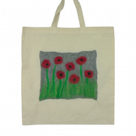 Shopping, tote bag, cotton with hand felted panel - grey poppy design - SALE