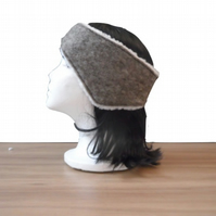 Grey felted headband, ear warmer with sherpa fleece