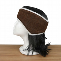 Brown felted ear muff, headband, ear warmer with sherpa fleece