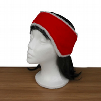 Red ear warmer, ear muff or headband, felted with sherpa fleece lining