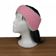 Ear muff, ear warmer in pink felt with sherpa fleece lining