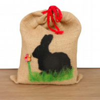 Doorstop, bookend or paperweight with needle felted rabbit