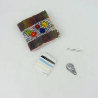 Felted sewing needle case, needle book, mending kit, rainbow with buttons