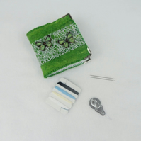 Needle book, sewing kit in green felt with butterflies