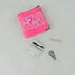 Mending kit, needle book with accessories in bright pink felt with scottie dogs