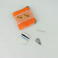 Orange felted sewing kit, needle book with bee decoration