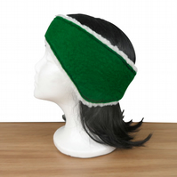 Ear warmer, ear muff or headband in green felt with sherpa fleece lining