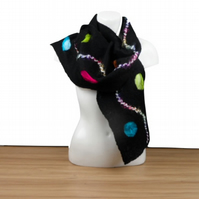 Black merino wool felted scarf with multicoloured silk inclusions