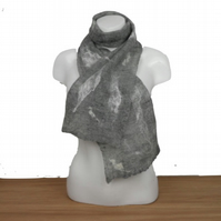 Fine, lightweight grey merino wool felted scarf with silk embellishment