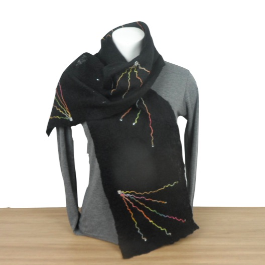 Black felted scarf, merino wool with multicoloured starburst decoration