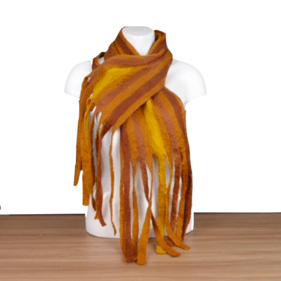 Striped scarf, wet felted, shades of brown with tassels