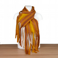 Striped scarf, wet felted, shades of brown with tassels - SALE