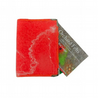 Felted card holder, wallet (salmon orange) for business cards, credit cards, ID