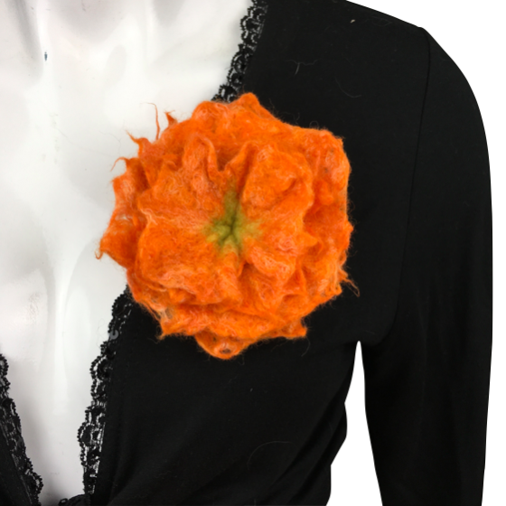 Felted flower brooch, corsage, orange