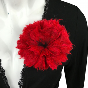 Felted flower brooch, corsage, red
